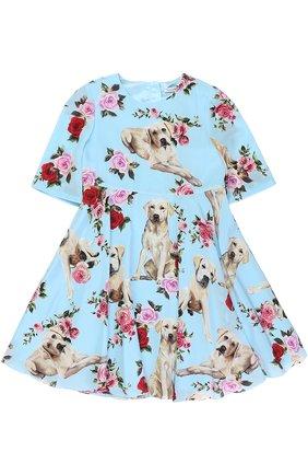 Детское шелковое платье с завышенной талией и принтом Dolce & Gabbana голубого цвета | Фото №1