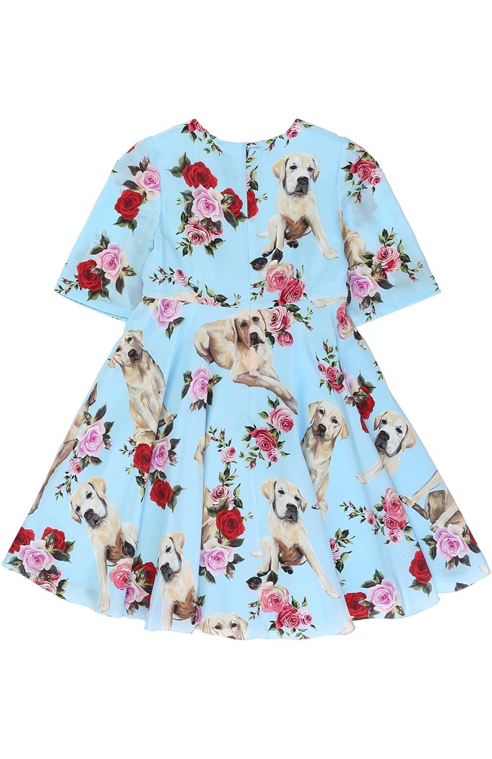 Детское шелковое платье с завышенной талией и принтом Dolce & Gabbana голубого цвета | Фото №2