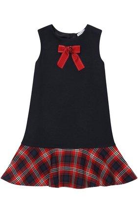 Детское мини-платье а-силуэта из шерсти и вискозы с принтом и декором Dolce & Gabbana темно-синего цвета | Фото №1