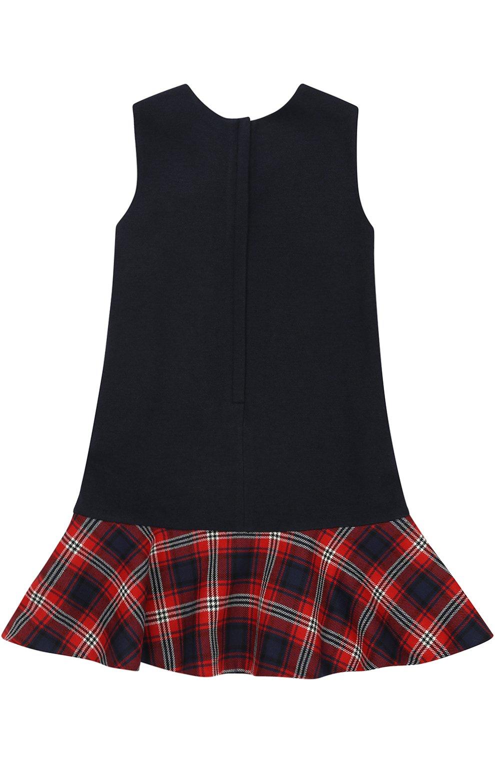 Детское мини-платье а-силуэта из шерсти и вискозы с принтом и декором Dolce & Gabbana темно-синего цвета | Фото №2