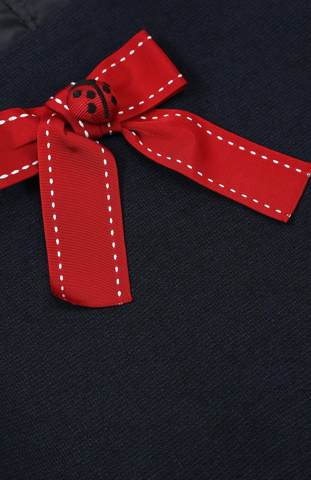 Детское мини-платье а-силуэта из шерсти и вискозы с принтом и декором Dolce & Gabbana темно-синего цвета | Фото №3