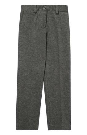 Детские однотонные брюки прямого кроя Dal Lago серого цвета | Фото №1