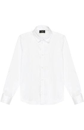 Детская хлопковая рубашка прямого кроя DAL LAGO белого цвета, арт. N402/7915/7-12 | Фото 1