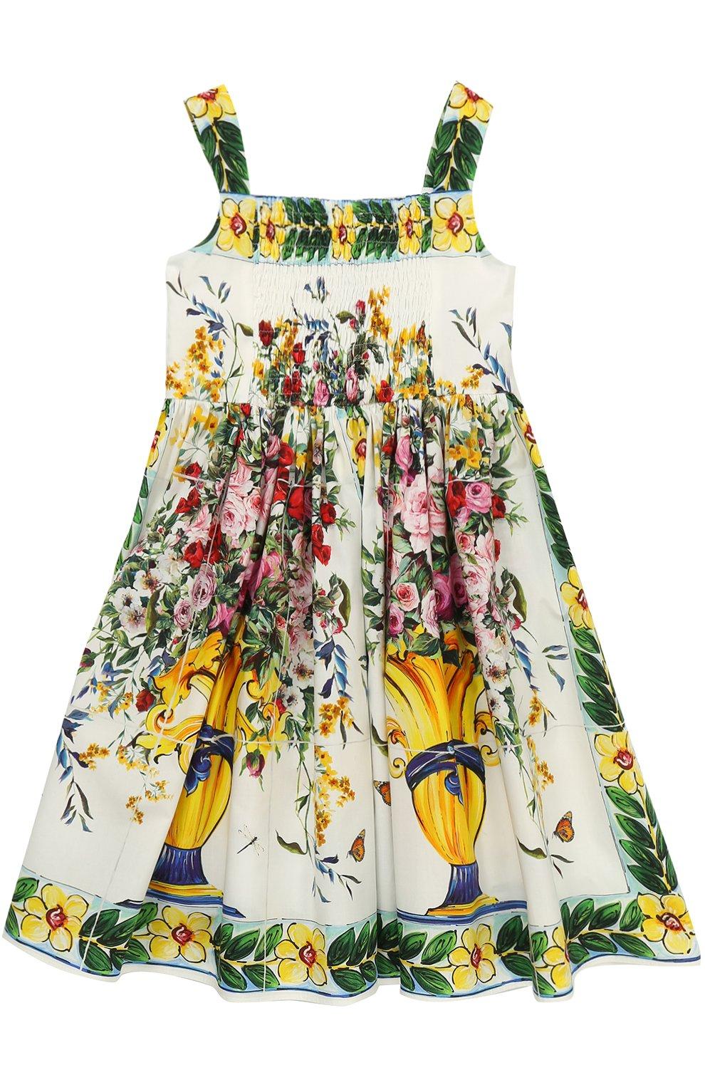 Детское хлопковый сарафан с контрастным принтом Dolce & Gabbana разноцветного цвета | Фото №2