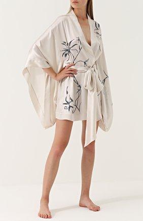 Шелковый халат с поясом и принтом | Фото №2