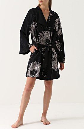Шелковый халат с металлизированной отделкой | Фото №2