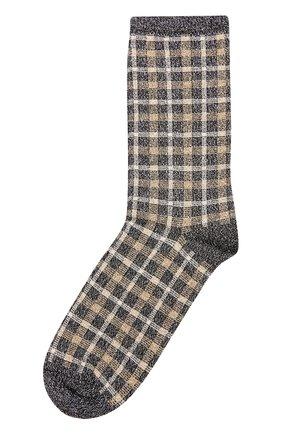 Хлопковые носки с принтом Royalties серые | Фото №1