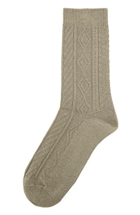 Хлопковые носки фактурной вязки Royalties зеленые | Фото №1