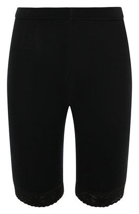 Женские хлопковые удлиненные шорты с кружевной отделкой NORVEG черного цвета, арт. 14SW011RU | Фото 1