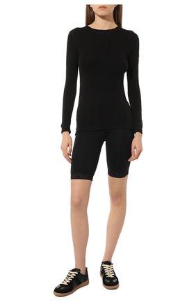 Женские хлопковые удлиненные шорты с кружевной отделкой NORVEG черного цвета, арт. 14SW011RU | Фото 2