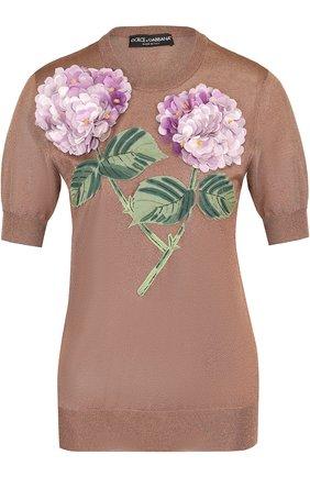 Топ с коротким рукавом и цветочной отделкой Dolce & Gabbana бронзовый | Фото №1
