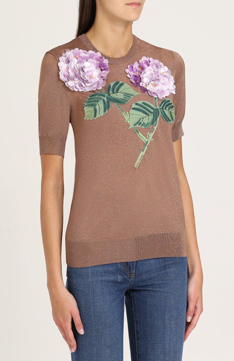Топ с коротким рукавом и цветочной отделкой Dolce & Gabbana бронзовый | Фото №3