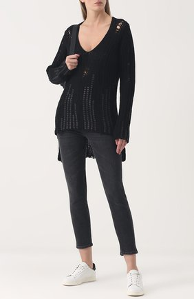 Шерстяной пуловер с V-образным вырезом Nude черный   Фото №1