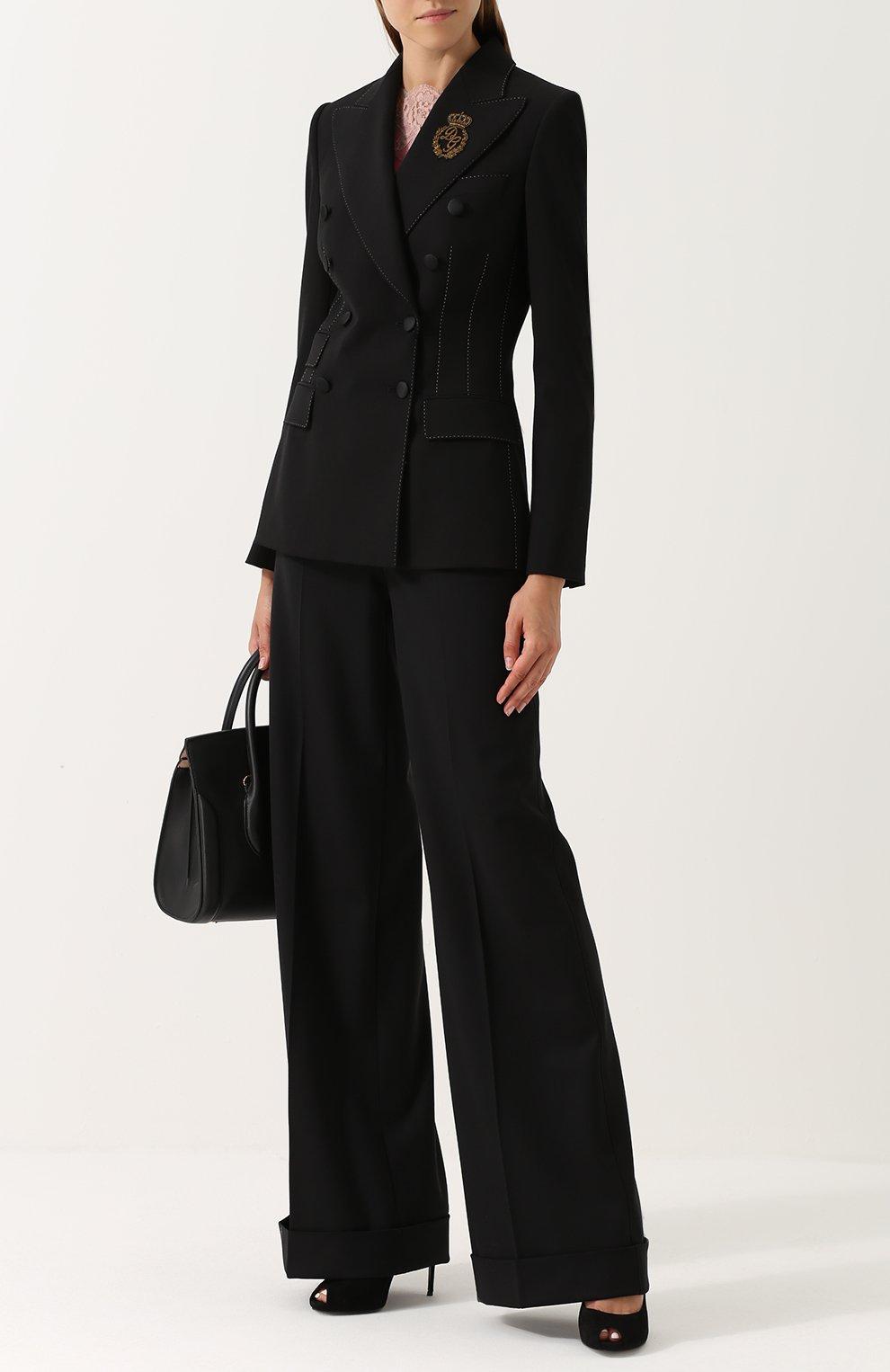 Двубортный приталенный жакет с декоративной отделкой Dolce & Gabbana черный | Фото №2