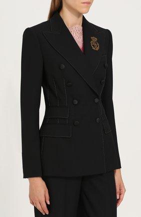 Двубортный приталенный жакет с декоративной отделкой Dolce & Gabbana черный | Фото №3