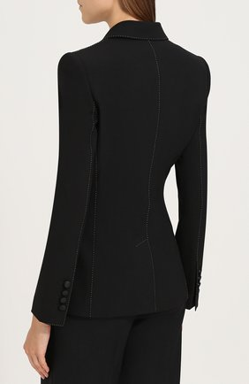 Двубортный приталенный жакет с декоративной отделкой Dolce & Gabbana черный | Фото №4