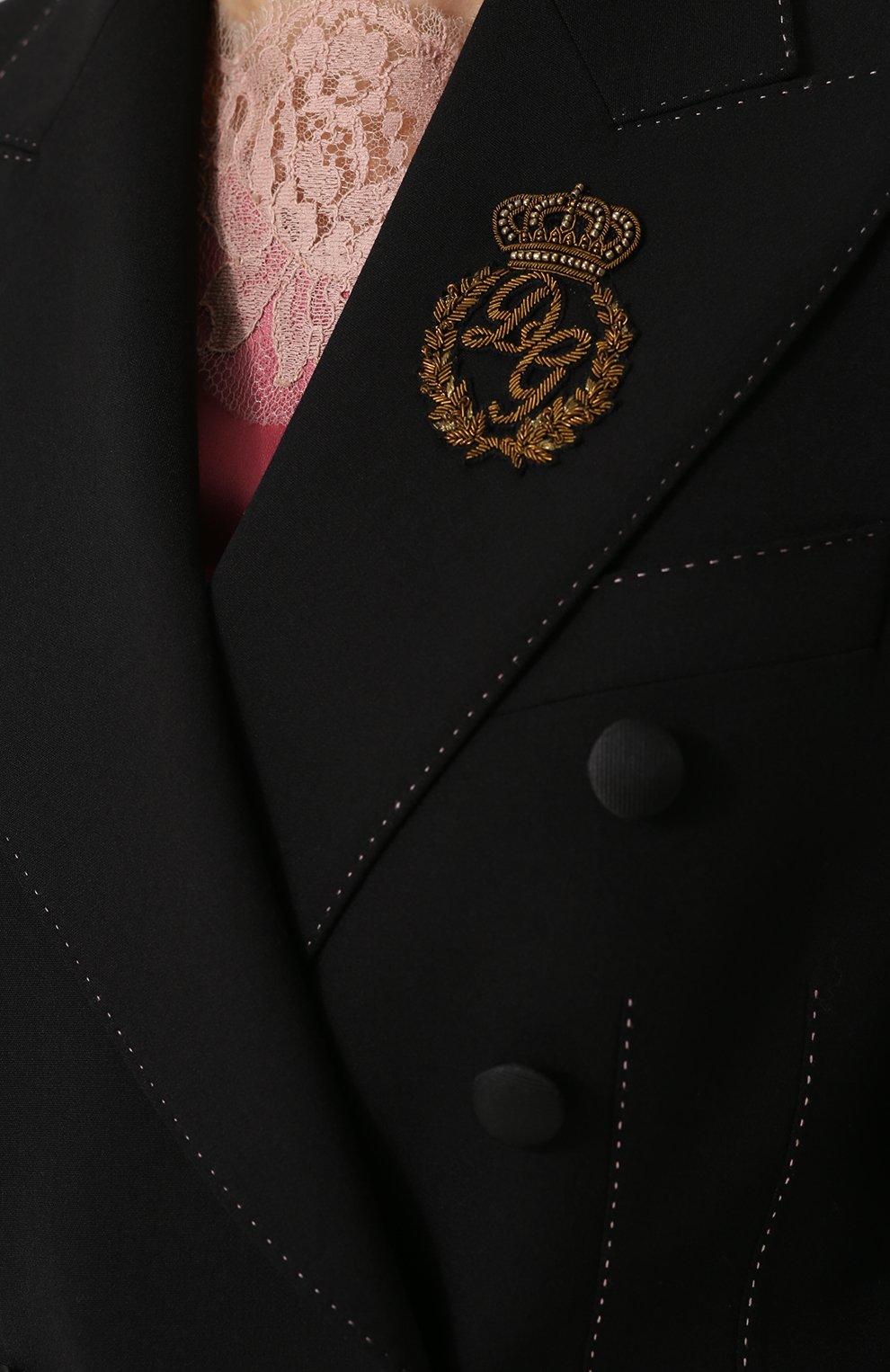 Двубортный приталенный жакет с декоративной отделкой Dolce & Gabbana черный | Фото №5