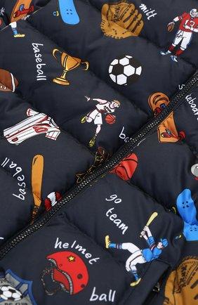 Стеганый пуховик на молнии с принтом Dolce & Gabbana синего цвета   Фото №3