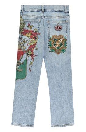 Детские джинсы прямого кроя с принтом и аппликацией Dolce & Gabbana голубого цвета | Фото №2