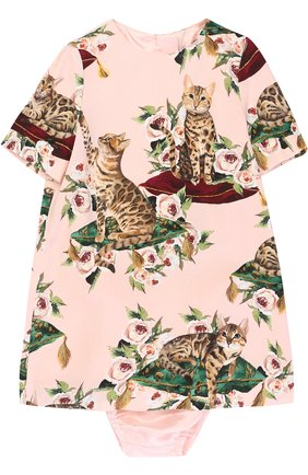Комплект из платья с принтом и трусов Dolce & Gabbana розового цвета | Фото №1