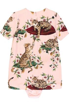 Комплект из платья с принтом и трусов Dolce & Gabbana розового цвета | Фото №2