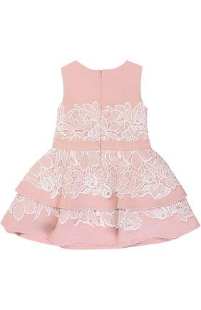 Детское мини-платье с кружевной отделкой и бантом на поясе Tadashi Shoji Kids розового цвета | Фото №1