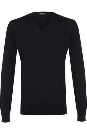 Мужской пуловер из шерсти тонкой вязки ERMENEGILDO ZEGNA темно-синего цвета, арт. UNM00/100 | Фото 1