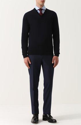 Мужской пуловер из шерсти тонкой вязки ERMENEGILDO ZEGNA темно-синего цвета, арт. UNM00/100 | Фото 2
