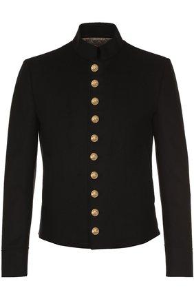 Шерстяная куртка с декоративно отделкой Dolce & Gabbana черная | Фото №1