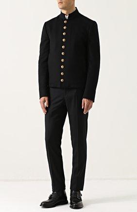 Шерстяная куртка с декоративно отделкой Dolce & Gabbana черная | Фото №2