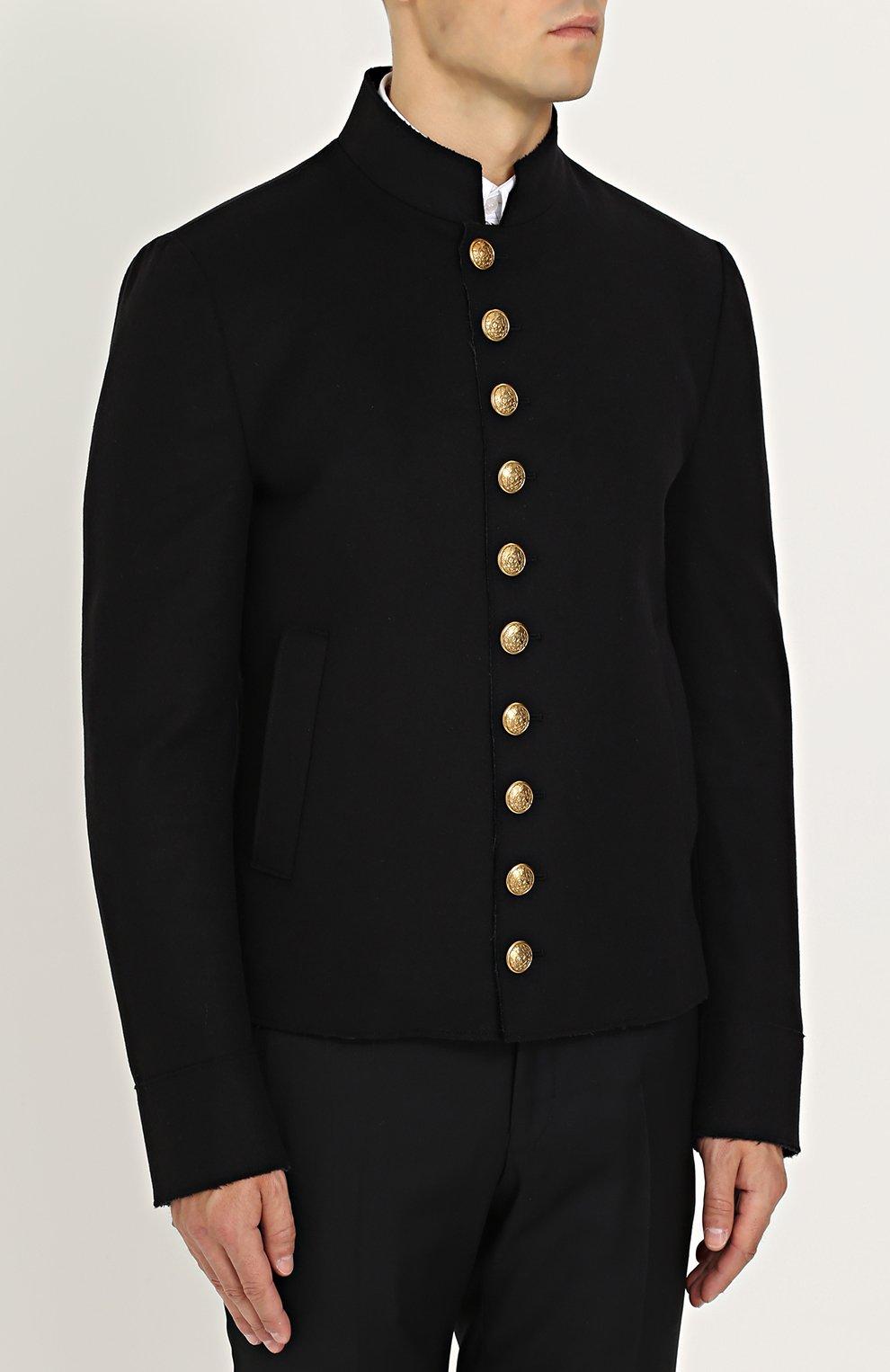 Шерстяная куртка с декоративно отделкой Dolce & Gabbana черная | Фото №3