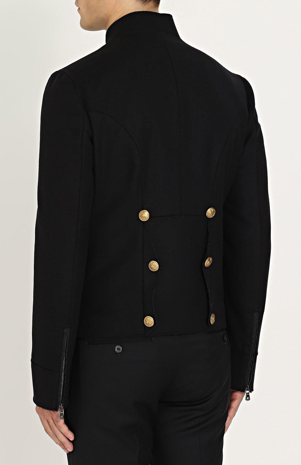 Шерстяная куртка с декоративно отделкой Dolce & Gabbana черная | Фото №4