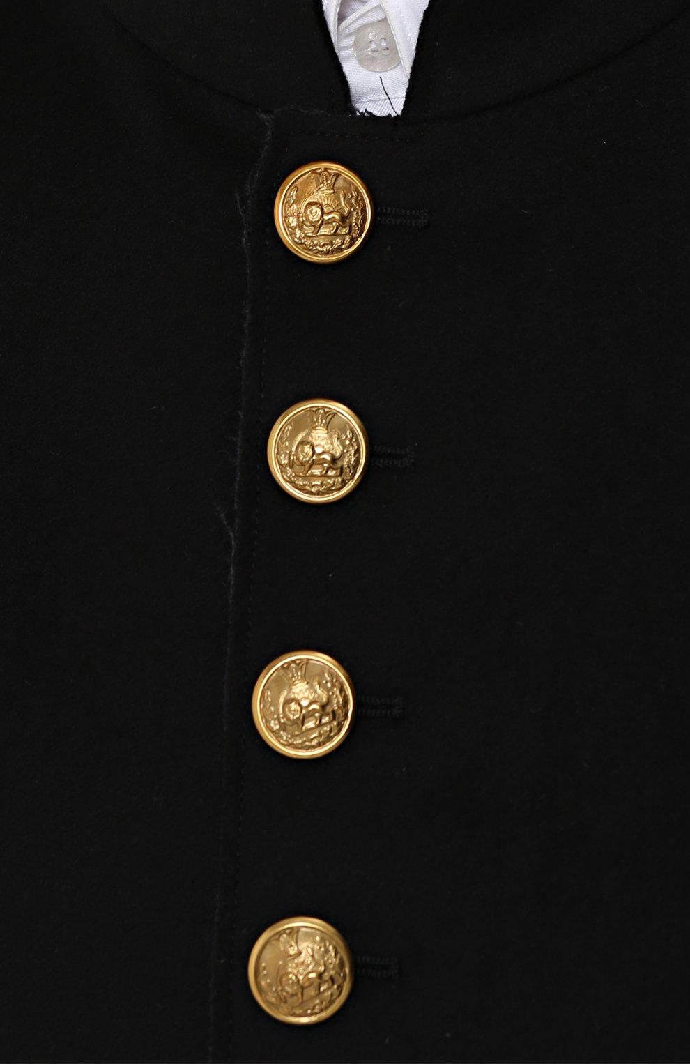 Шерстяная куртка с декоративно отделкой Dolce & Gabbana черная | Фото №5