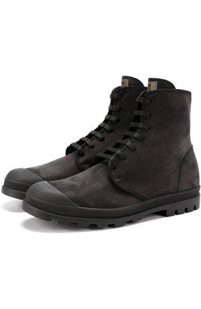 Кожаные ботинки на шнуровке Jil Sander черные | Фото №1