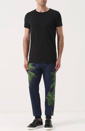 Хлопковые брюки с принтом Dolce & Gabbana разноцветные   Фото №2