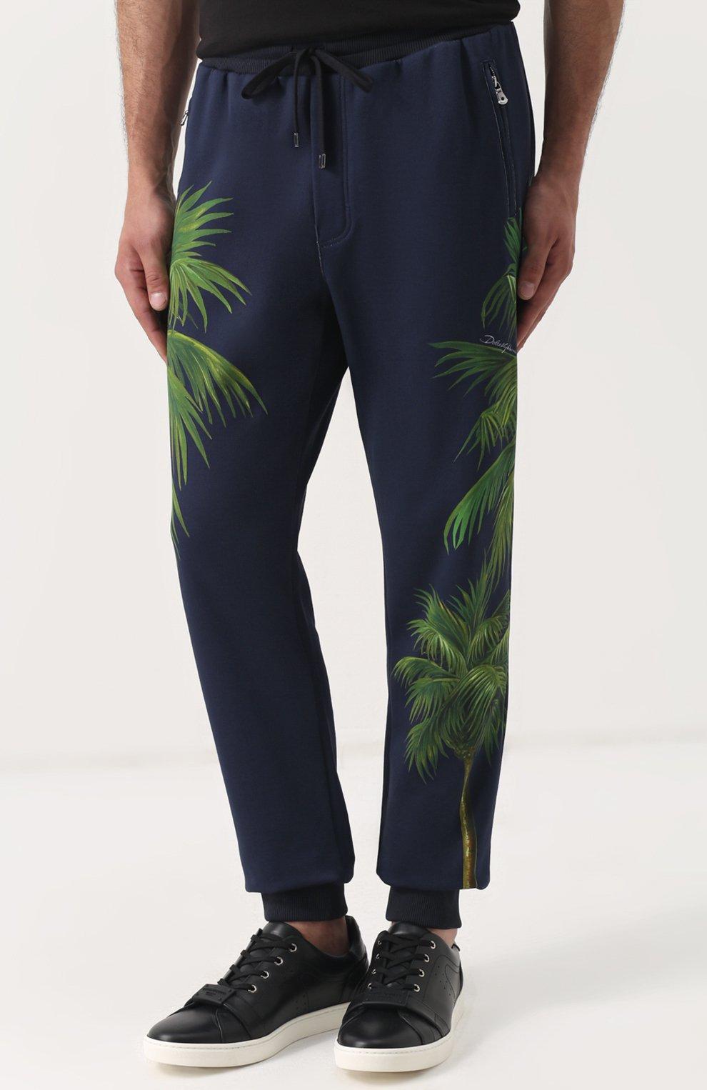 Хлопковые брюки с принтом Dolce & Gabbana разноцветные   Фото №3