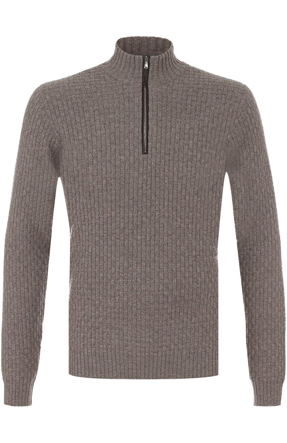 ffadd2e806c96 Кашемировый свитер фактурной вязки с кожаной отделкой Fioroni темно-бежевый  | Фото №1