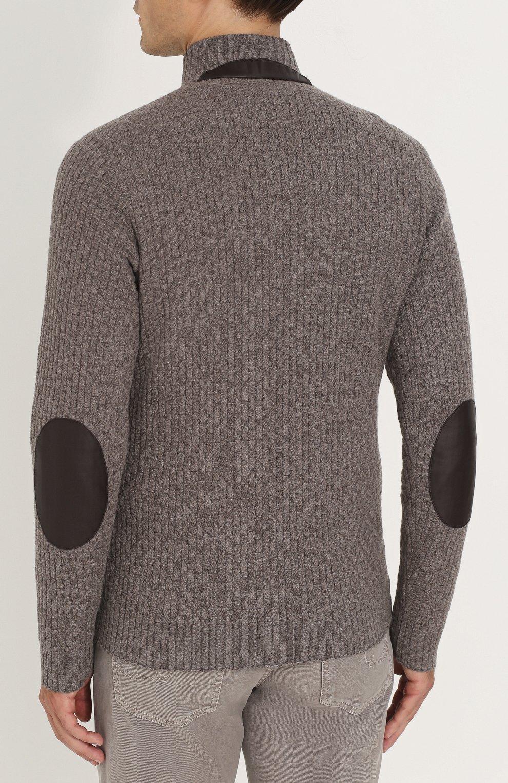 a790e253373e9 Кашемировый свитер фактурной вязки с кожаной отделкой Fioroni темно-бежевый  | Фото №4