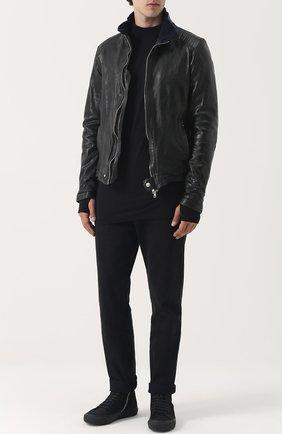 Кожаная куртка на молнии Delan хаки | Фото №1