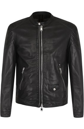 Кожаная куртка на молнии Delan черная | Фото №1