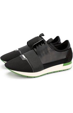 Комбинированные кроссовки Race на шнуровке с эластичной вставкой