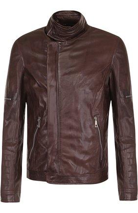 Кожаная куртка на молнии Musher темно-синяя   Фото №1