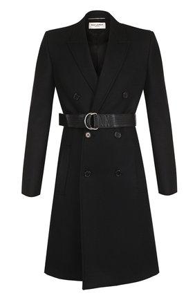 Шерстяное двубортное пальто с поясом