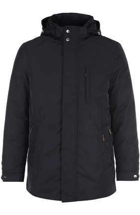 Кожаная куртка с накладными карманами Moorer темно-синяя | Фото №1