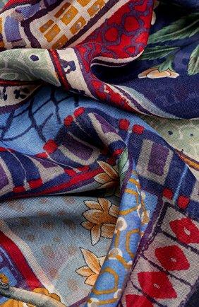 Шарф из смеси кашемира и шелка с принтом Salvatore Ferragamo синий | Фото №1