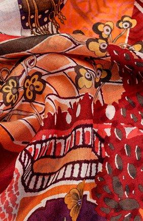 Шарф из смеси кашемира и шелка с принтом Salvatore Ferragamo красный | Фото №1