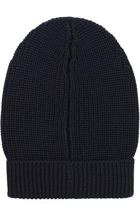 Шерстяная шапка фактурной вязки Dolce & Gabbana синего цвета | Фото №1