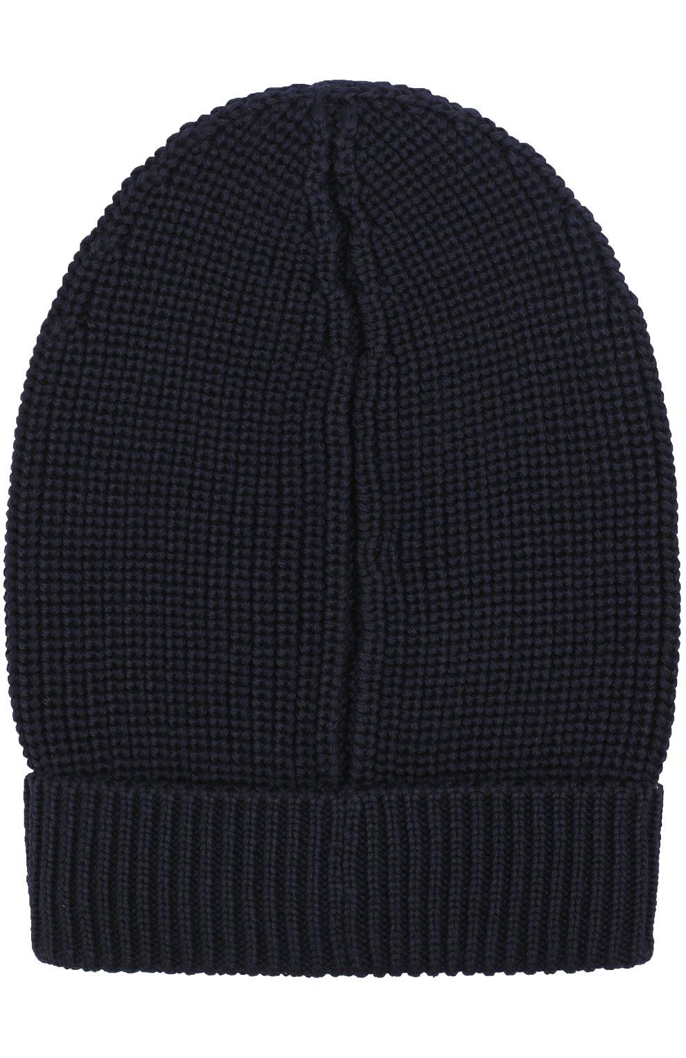 Шерстяная шапка фактурной вязки Dolce & Gabbana синего цвета | Фото №2