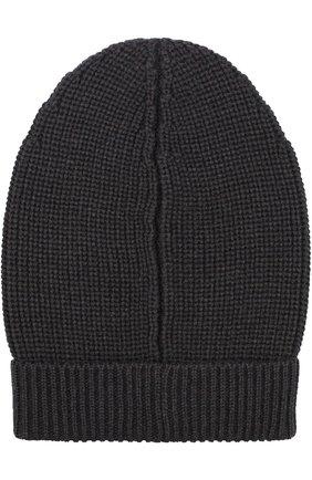 Шерстяная шапка фактурной вязки Dolce & Gabbana темно-серого цвета | Фото №1