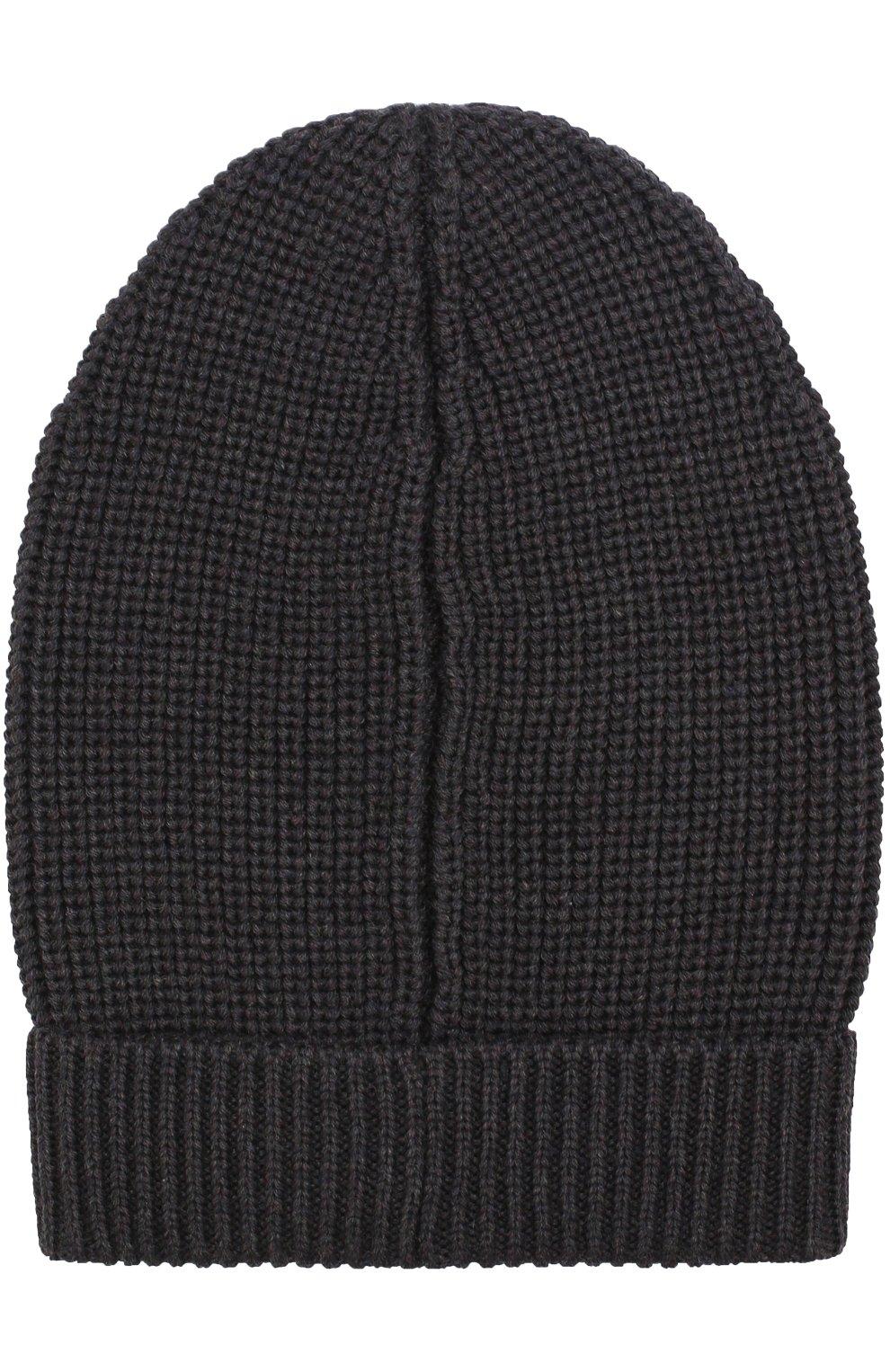 Шерстяная шапка фактурной вязки Dolce & Gabbana темно-серого цвета | Фото №2